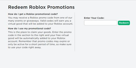 Roblox promo Code